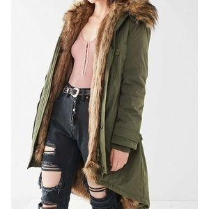 Urban outfitters aspen faux fur parka jacket